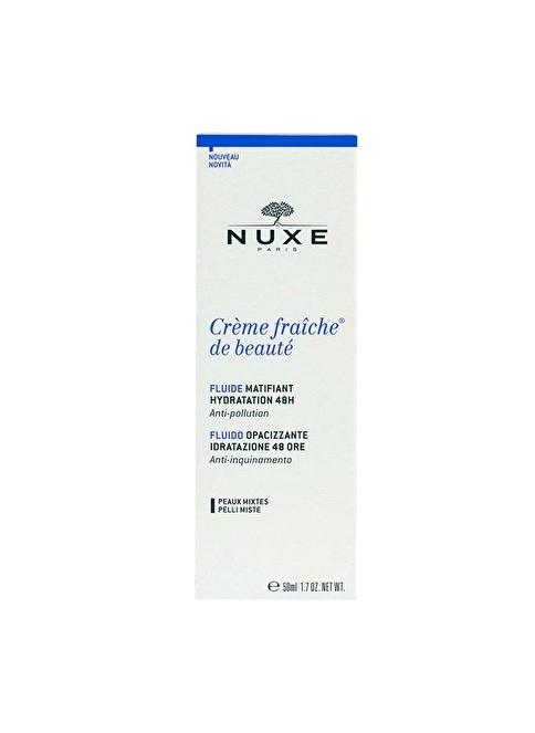 Nuxe Creme Fraiche De Beaute 48h Mattifying Fluide 50 ml - 48 Saat Nemlendirici Matlaştırıcı Bakım Emüls Renksiz